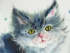 WATERCOLOR PAINTING AQUARELLE HAND PAINTED LITTLE KITTEN    for sale by artist