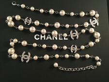 Authentic Chanel Silver tone pearls Necklace