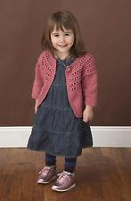 Knitting Pattern - Pretty Baby-4yr Girls Eyelet Yoke Cardigan (4 sizes) PO165