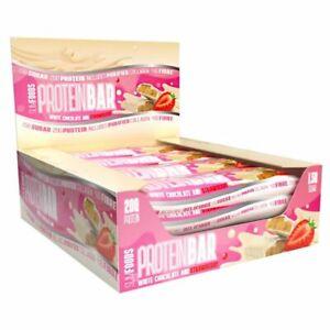 Slimfoods 20g Protein Diet Bar High Collagen 12 Bars White Chocolate Strawberry