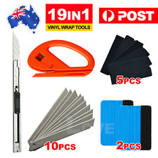 Car Wrap Vinyl Tools Kit 6 Film Wrapping Carbon Fibre Squeegee Safety Cutter AUS