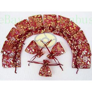 """25/50/100/200pcs Print Pattern Organza Pouches Jewelry Wedding Favor Bags 4""""x3"""""""