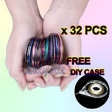 32 COLORS NAIL STICKER ROLLS STRIPING TAPE LINE NAIL ART UV GEL TIPS DIY KIT B
