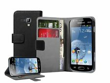 Wallet BLACK Leather Flip Case Cover Pouch for Samsung Galaxy S Duos 2 GT-S7582