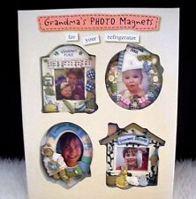 Grandma Refrigerator Magnets Photo Frames Clay Sculptured Set of 4 NEW Xmas Gift