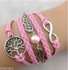 Pink Leather Look Infinity Tree Pearl Womens Girls Charm Friendship Bracelet