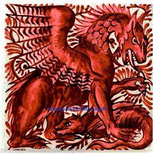 Arte y artesanía William De Morgan Gótico Rojo Dragón Bestia Posavasos baldosas de cerámica