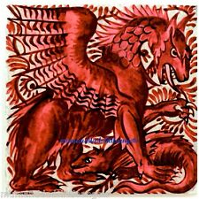 BEAUTIFUL WILLIAM DE MORGAN RED DRAGON DESIGN CERAMIC TILE COASTER B