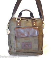 NEW FOSSIL GREEN PLAID+BROWN LEATHER TRANSIT VERTICAL WK BRIEFCASE,CROSSBODY,BAG