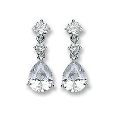 RHODIUM PLATED SOLID 925 HALLMARKED SILVER PEAR CUT 20MM STUD & DROP EARRINGS