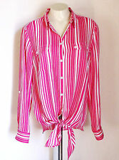 Jones New York Signature Womens Blouse Pink White Striped Shirt Top Size Medium