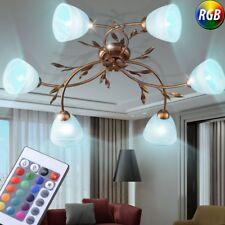 LED Luxus Decken Lampe altgold RGB Fernbedienung Blumen Blätter Leuchte dimmbar