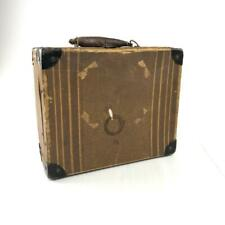 Vintage Mini travel suitcase brown striped metal corners