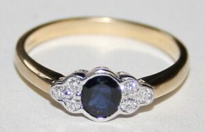 Lovely Quality 18ct Gold Sapphire & Diamond Ring Size M