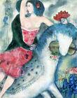 "Vintage French Art Mark Shagal CANVAS PRINT Equestrian horse painting 24""X16"""