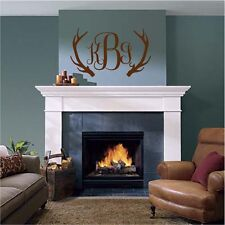 Deer Antlers and Monogram Initials Wall Sticker Wall Art Decor Vinyl Decal 21x36