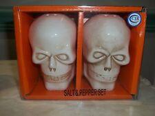 Halloween Ceramic Skull - White Salt & Pepper Shakers ~ NEW!!!