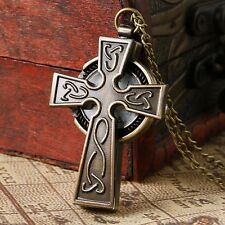 Exquisite Special Engraved Jesus Crucifix Cross Pocket Watch Pendant Necklace