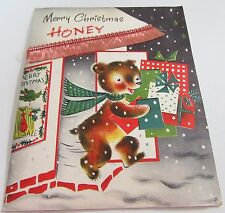 Used Vintage Christmas Card Norcross Bear Shopping for Gifts for Wife