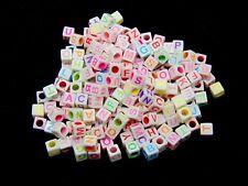 100 Pcs - 6mm White Cube Alphabet Letter Beads Mix Colour Letters Kids Craft H41
