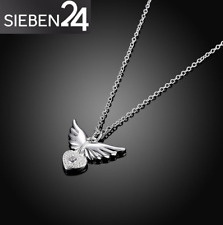 Silber Halskette 925er Kette Herz Engelsflügel Engel Liebe Anhänger Schmuck H1