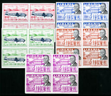 Liberia Stamps # 362-3 + C107-110 XF OG NH Imperforate Blocks Of 4