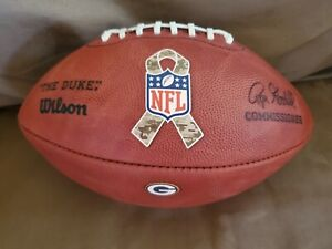 NFL Duke Game Issued Football Green Bay Packers Salute to Service Signed PSA