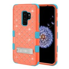 FOR SAMSUNG GALAXY S9 PLUS G965 CORAL PINK TEAL TUFF GEM STUDS STAND CASE COVER