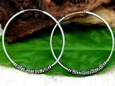 Keltische Creolen Verzierung 925 Silber Ohrringe Ø 50mm Bali Creole Ohrschmuck