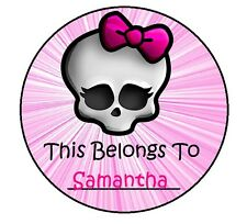 24 PERSONALIZED MONSTER HIGH Property Stickers school books Name TAGS Labels #2