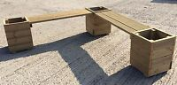 Large Square Decking Wooden Garden Corner Bench with Planters Combination Seat