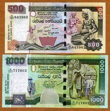 SET Sri Lanka, 500-1000 Rupees, 2005-2006  P-119d-120d, UNC > Exotic