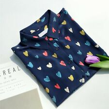 New Silk Crepe De Chine Colorfully Love Print Equipment Elegant Shirt blouses