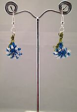 Ago fatto a mano pizzo uncinetto Dangle Earrings Fiori Blu Foglia Verde WTH dettagli