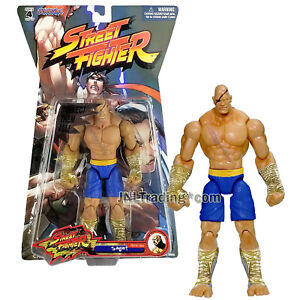 Year 2005 Capcom Street Fighter 7 Inch Tall Figure SAGAT Player 1 in Blue Trunk