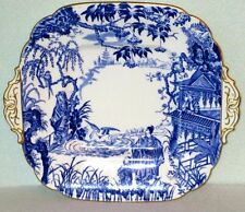 Royal Crown Derby Gorgeous BLUE MICADO Large Squire Cake Plate with Handles 1937