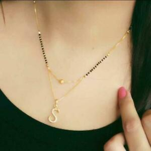 Gold Plated Indian Mangalsutra Black Beads Alphabet S Necklace Pendant Jewelry
