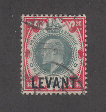 Great Britian, Turkey Sc 24 used 1905 1sh carmine rose & green KEVII w/ ovpt
