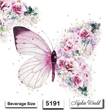 (5191) TWO Individual Paper BEVERAGE / COCKTAIL Decoupage Napkins - BUTTERFLY