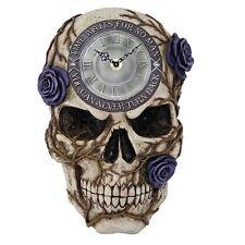 Purple Beauty Skull Bone Wall Clock Time Waits For No Man Gothic Wall Art