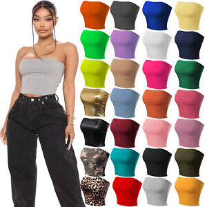 New Womens Boob Tube Strapless Sexy Bandeau Causal Stretchy Vest Bra Crop Tops