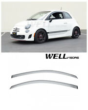For 12-19 Fiat 500 500c 500e WellVisors Side Window Visors Deflectors Black Trim (Fits: Fiat)