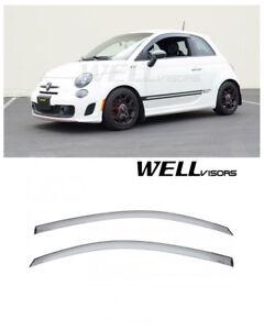 For 12-19 Fiat 500 500c 500e WellVisors Side Window Visors Deflectors Black Trim
