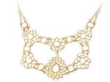 Gold Tribal Ethnic White Bead Bib Sunburst Cluster Chain Floral Flower Necklace