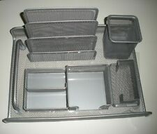 5 Piece Silver Mesh Desk Organizer Set