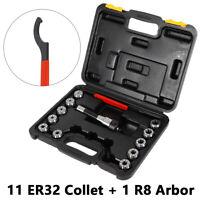 R8-ER32 Precision Collet Chuck Holder,11x ER32 Spring Collet Set,Wrench TOP!!!