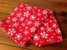 Christmas Holiday Seasonal Snowflake Red White 100% Cotton Tablecloth 78""