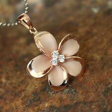 25mm LARGE Rose Gold Plumeria Hawaiian Flower Silver Pendant Necklace #SP90549
