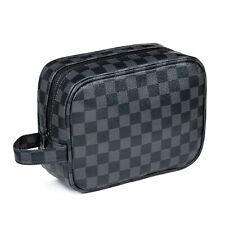 Luxouria Travel Checkered Makeup Bag for Women, Luxury Cosmetics Bag,Toiletries