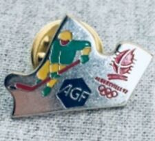 Very Rare !! Vintage Pin Badge Ice Hockey Albertville Olympic 1992
